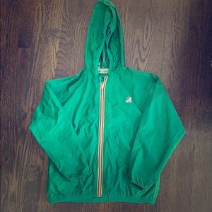 Packable K-WAY rain coat in green
